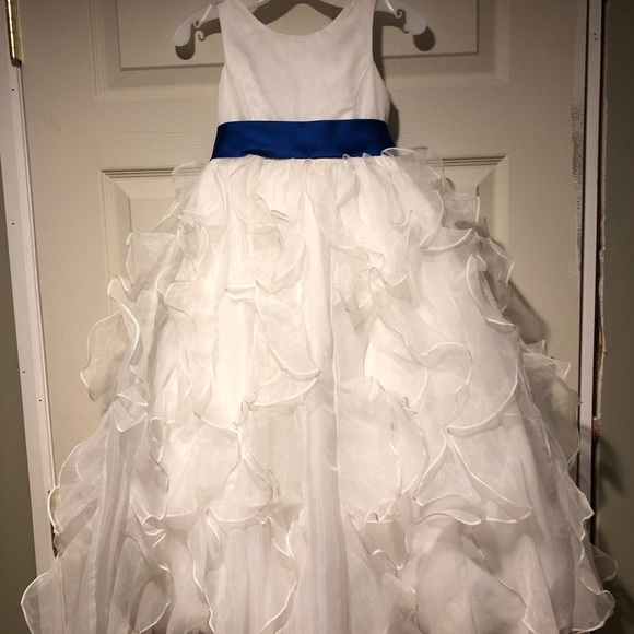 d6c166cc18 David's Bridal Dresses | Organza Flower Girl Dress With Horizon Blue ...
